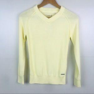 ADIDAS V Neck Sweater Light Yellow Medium weight